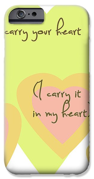 i carry your heart i carry it in my heart - yellow and peach iPhone Case by Nomad Art And  Design