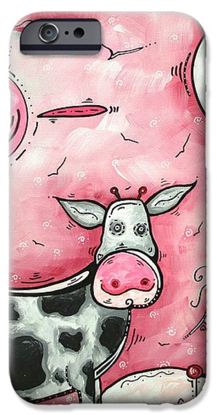 I LOVE MOO Original MADART Painting iPhone Case by Megan Duncanson
