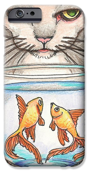 Aceo iPhone Cases - I Loves Fishes iPhone Case by Amy S Turner