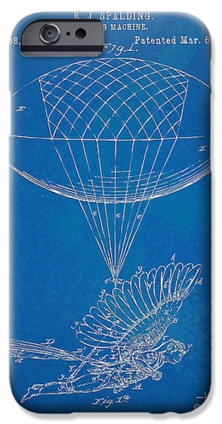 Figures Digital Art iPhone Cases - Icarus Airborn Patent Artwork iPhone Case by Nikki Marie Smith