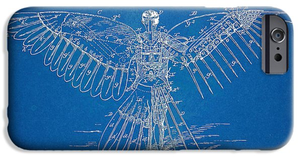 Flight iPhone Cases - Icarus Human Flight Patent Artwork iPhone Case by Nikki Marie Smith