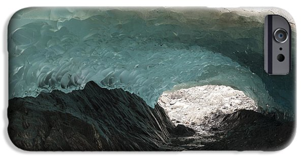 Tongass iPhone Cases - Ice Cave In Mendenhall Glacier, Tongass iPhone Case by Matthias Breiter