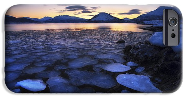 Landscape In Norway iPhone Cases - Ice Flakes Drifting Against The Sunset iPhone Case by Arild Heitmann