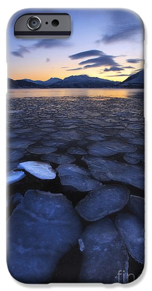 Sunset In Norway iPhone Cases - Ice Flakes Drifting Towards iPhone Case by Arild Heitmann