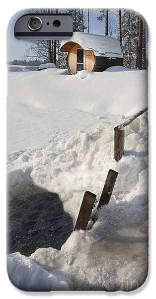 Frigid iPhone Cases - Ice Hole and Sauna at a Resort iPhone Case by Jaak Nilson