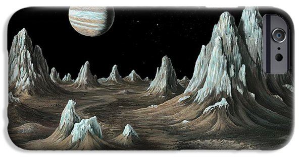 Galilean Moon iPhone Cases - Ice Spires On Callisto, Artwork iPhone Case by Richard Bizleycallisto Engineering Expertise For Space Communications