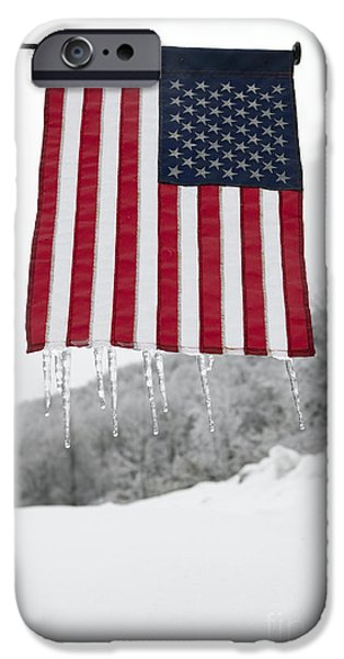 American Flag iPhone Cases - Icicles on an American Flag iPhone Case by Will & Deni McIntyre