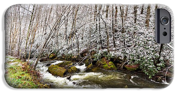 Snowy Stream iPhone Cases - Icy Landscape iPhone Case by Debra and Dave Vanderlaan