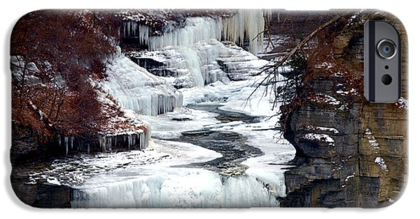 Red Leaf Digital iPhone Cases - Icy waterfalls iPhone Case by Paul Ge