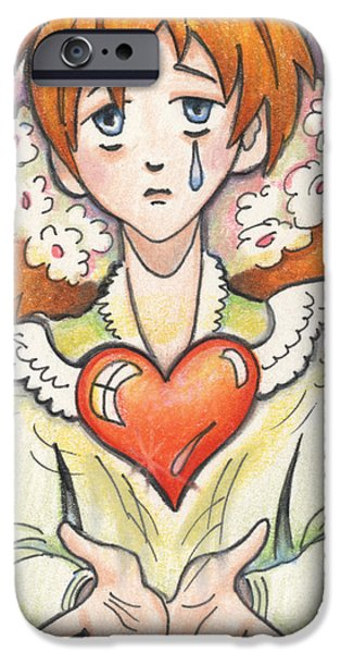 Crying Drawings iPhone Cases - If You Love Someone Set Them Free iPhone Case by Amy S Turner