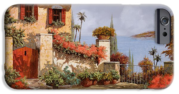 House Paintings iPhone Cases - Il Giardino Rosso iPhone Case by Guido Borelli