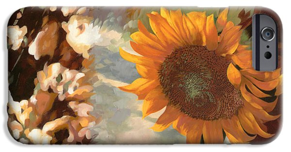 Window Paintings iPhone Cases - Il Girasole iPhone Case by Guido Borelli