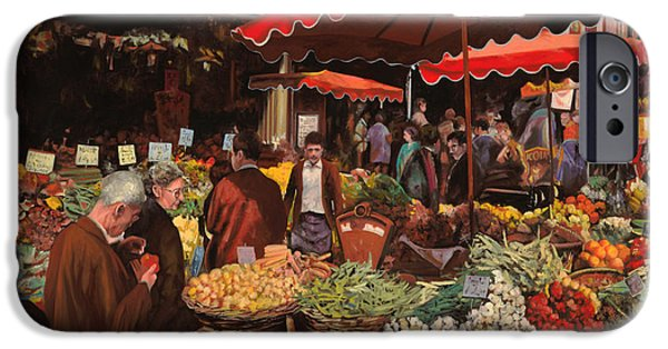 Umbrella iPhone Cases - Il Mercato Di Quartiere iPhone Case by Guido Borelli