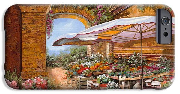 Umbrella iPhone Cases - Il Mercato Sotto I Portici iPhone Case by Guido Borelli