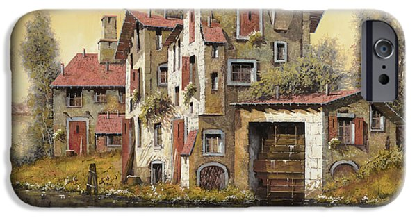 Sunset Paintings iPhone Cases - Il Mulino Giallo iPhone Case by Guido Borelli