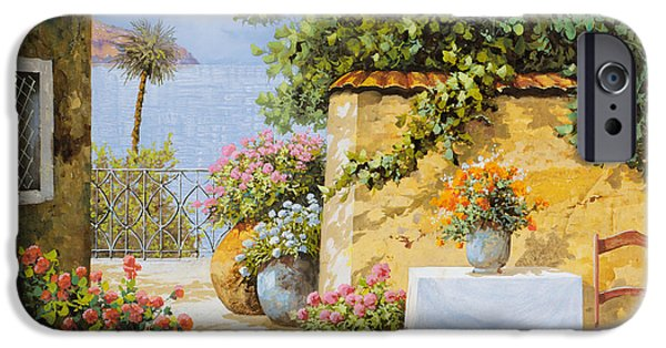 Chair Paintings iPhone Cases - Il Muretto E Il Mare iPhone Case by Guido Borelli