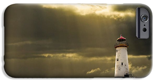 Lighthouses iPhone Cases - Illuminated Beacon iPhone Case by Meirion Matthias