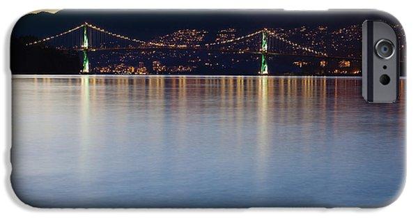Burrard Inlet iPhone Cases - Illuminated Bridge Across a Bay iPhone Case by Bryan Mullennix