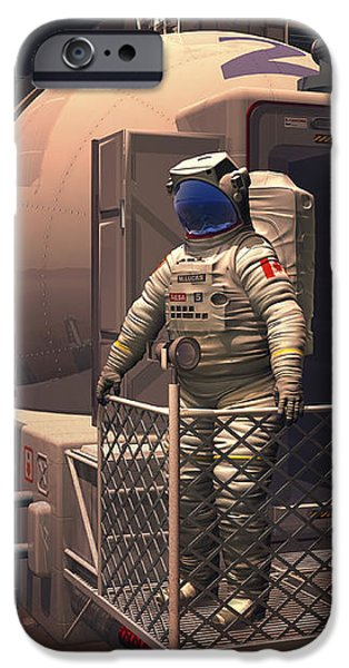 Illustration Of An Astronaut Leaving iPhone Case by Walter Myers