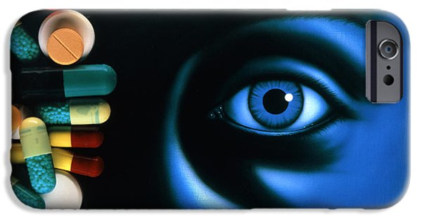 Disorder iPhone Cases - Illustration Of An Eye, With Pills Superimposed iPhone Case by David Gifford