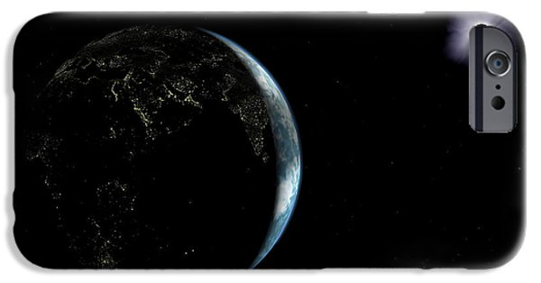 Solar Eclipse Digital iPhone Cases - Illustration Of The City Lights iPhone Case by Walter Myers