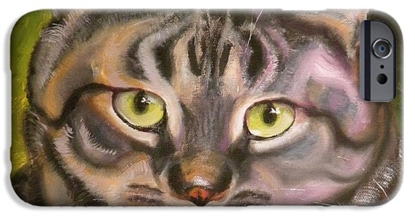 Cat Drawings iPhone Cases - Im Your Man Tabby iPhone Case by Susan A Becker