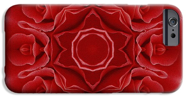 Abstract Digital Mixed Media iPhone Cases - Imperial Red Rose Mandala iPhone Case by Georgiana Romanovna