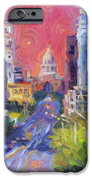 Capitol iPhone Cases - Impressionistic Downtown Austin city painting iPhone Case by Svetlana Novikova