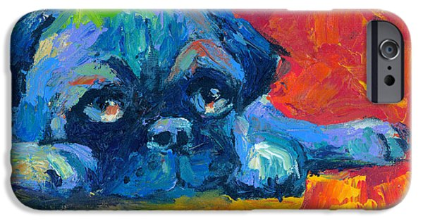 Red Drawings iPhone Cases - impressionistic Pug painting iPhone Case by Svetlana Novikova