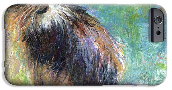 Contemporary Art Drawings iPhone Cases - Impressionistic Tuxedo Cat portrait iPhone Case by Svetlana Novikova