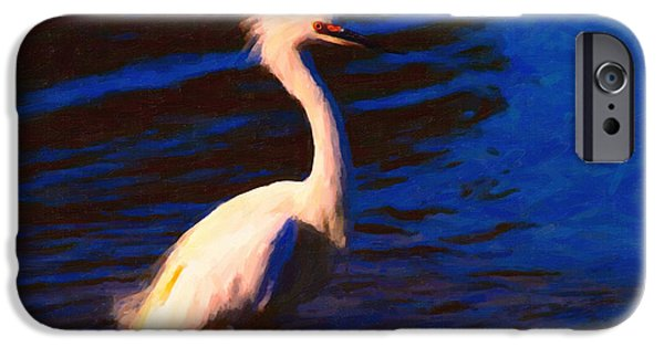 Snowy Day Digital Art iPhone Cases - Impressions of a Snowy Egret . Painterly iPhone Case by Wingsdomain Art and Photography