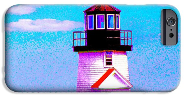 Chatham iPhone Cases - Impresstionistic Hyannis Port Lighthouse iPhone Case by Annie Zeno