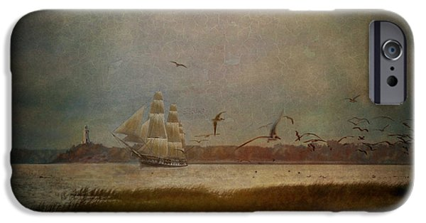 Tall Ship Digital iPhone Cases - In Another Lifetime iPhone Case by Lianne Schneider