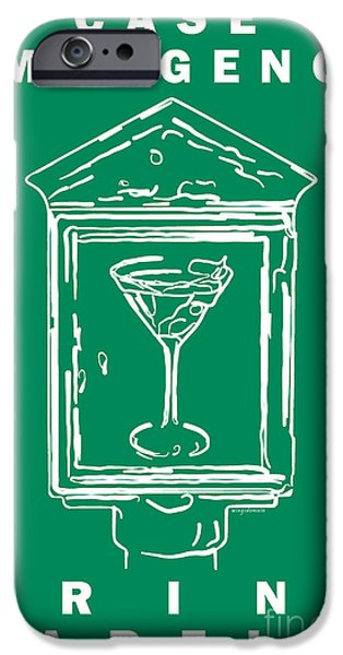 In Case Of Emergency - Drink Martini - Green iPhone Case by Wingsdomain Art and Photography