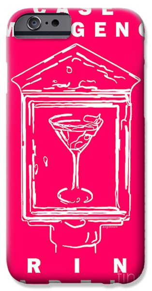 In Case Of Emergency - Drink Martini - Pink iPhone Case by Wingsdomain Art and Photography