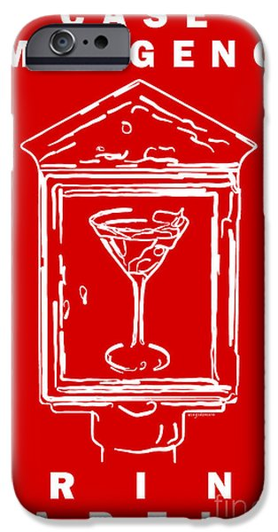 In Case Of Emergency - Drink Martini - Red iPhone Case by Wingsdomain Art and Photography