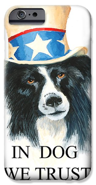 Patriotism Paintings iPhone Cases - In Dog We Trust Greeting Card iPhone Case by Jerry McElroy