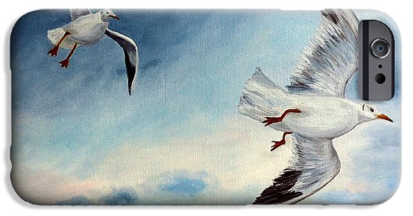 Flying Seagull Paintings iPhone Cases - In Flight iPhone Case by Julie Brugh Riffey