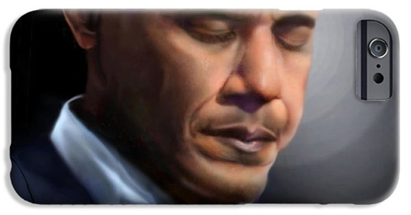 President Obama iPhone Cases - In Jesus Christ Name iPhone Case by Reggie Duffie