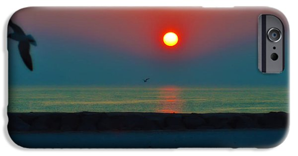 Flying Seagull Digital Art iPhone Cases - In the Morning Sun iPhone Case by Bill Cannon