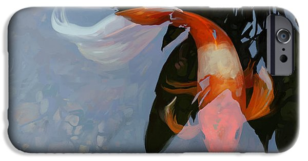 Koi iPhone Cases - In the Shadows iPhone Case by Steve Goad