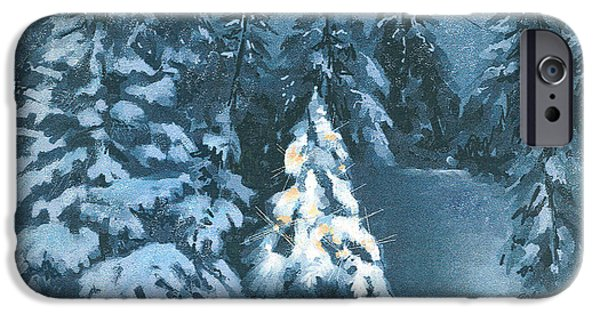 Snow Scene Digital iPhone Cases - In The Spotlight iPhone Case by Arline Wagner