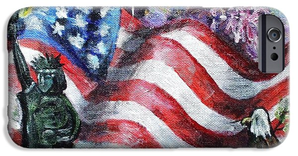 4th July Paintings iPhone Cases - Independence Day iPhone Case by Shana Rowe