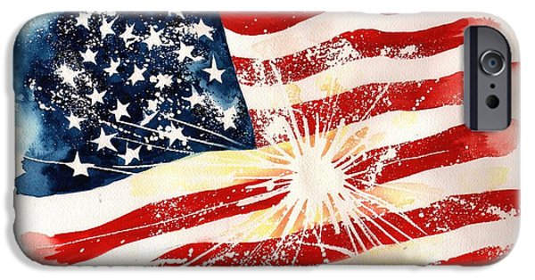 Independence Day Paintings iPhone Cases - Independence Day iPhone Case by Sharon Mick