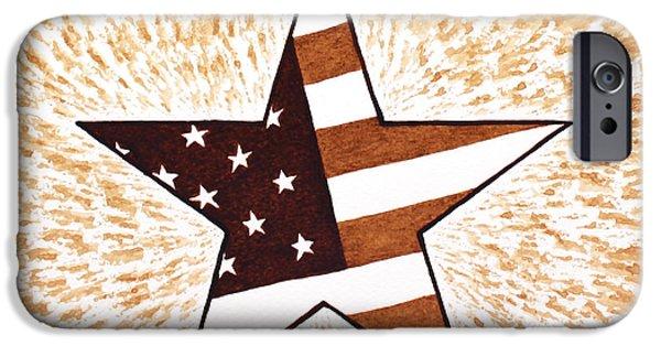 Independence Day Paintings iPhone Cases - Independence Day Star USA Flag coffee painting iPhone Case by Georgeta  Blanaru