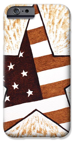 Independence Day Star USA Flag coffee painting iPhone Case by Georgeta  Blanaru