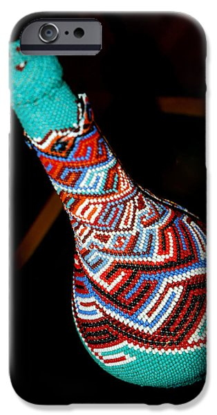 Smithsonian Museum iPhone Cases - Indian seed bead bottle iPhone Case by LeeAnn McLaneGoetz McLaneGoetzStudioLLCcom