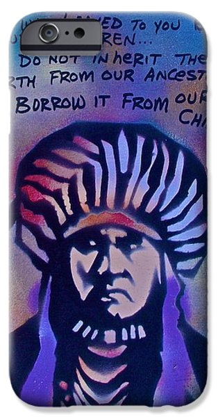American Conservative Party iPhone Cases - INDIGENOUS MOTTO...Blue iPhone Case by Tony B Conscious