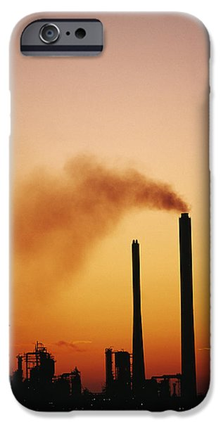 Pollutant iPhone Cases - Industrial Air Pollution At Sunset iPhone Case by Jeremy Walker