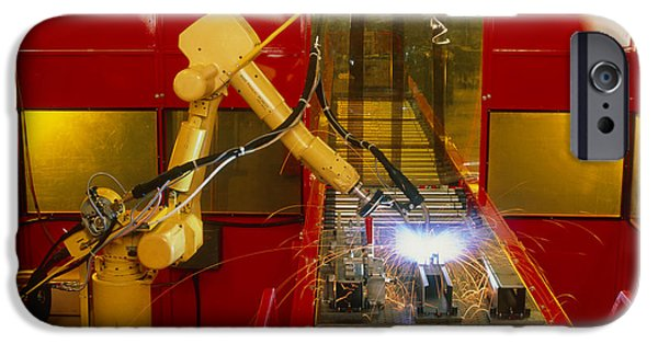 Production Line iPhone Cases - Industrial Robot Welding On Production Line iPhone Case by David Parker600-group